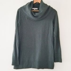 Loft cowl neck oversized long sweater green/gray
